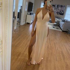 Nude FashionNova double slit maxi dress